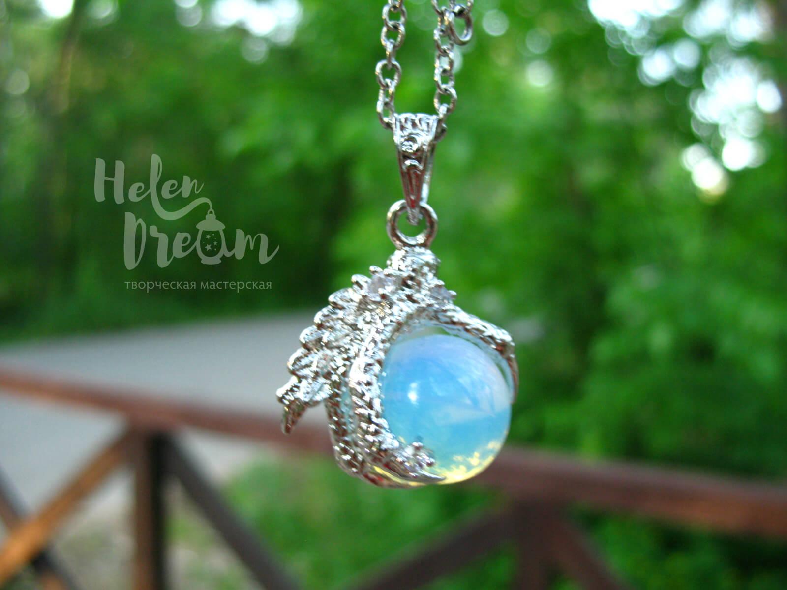 Кулон дракон с лунным камнем