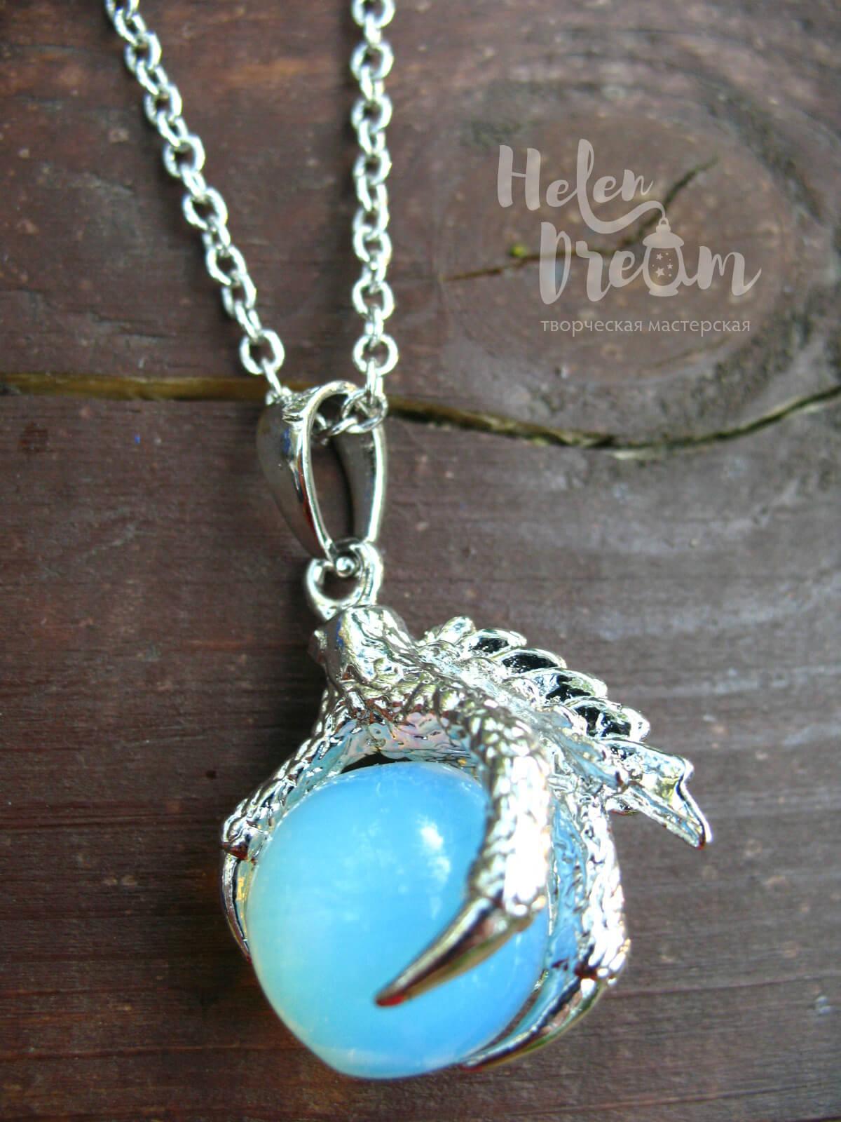 Кулон дракон из лунного камня
