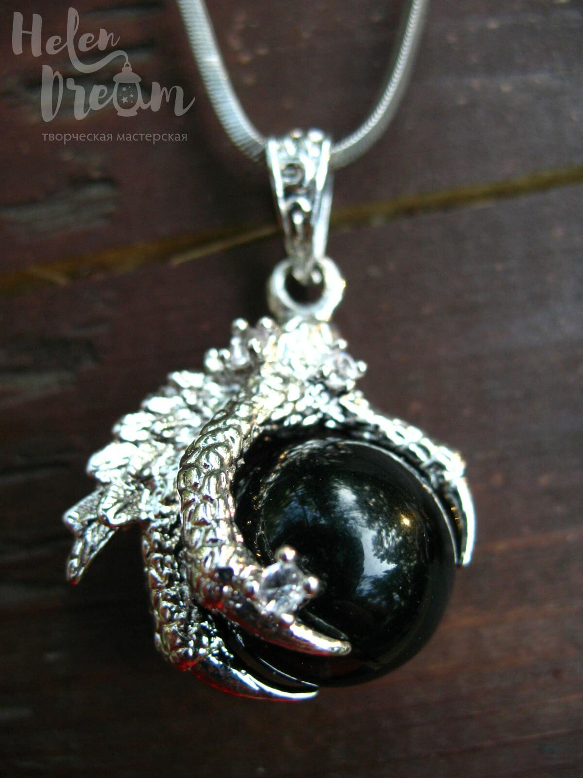 Кулон дракон черный агат
