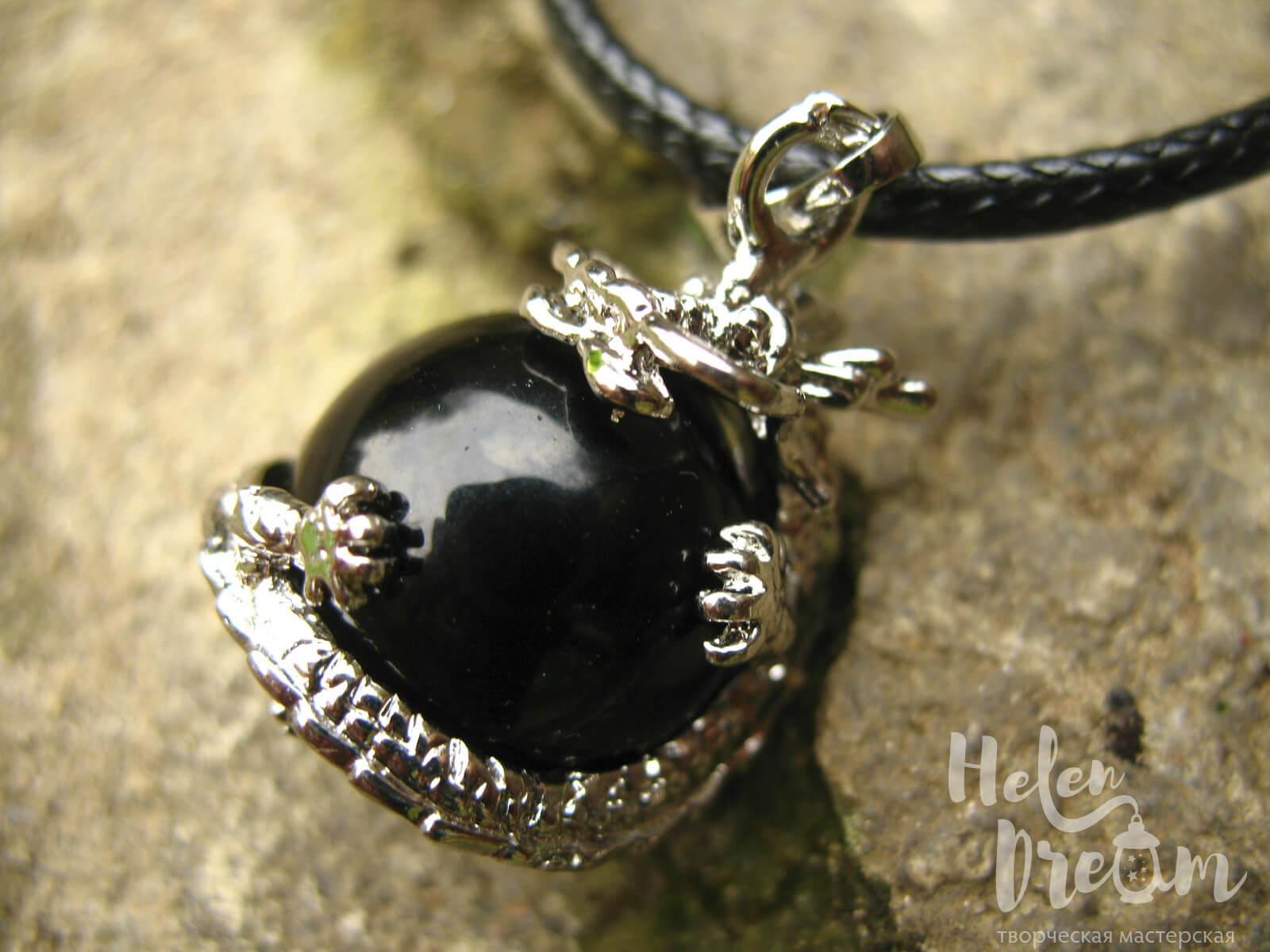 Кулон дракон из черного агата