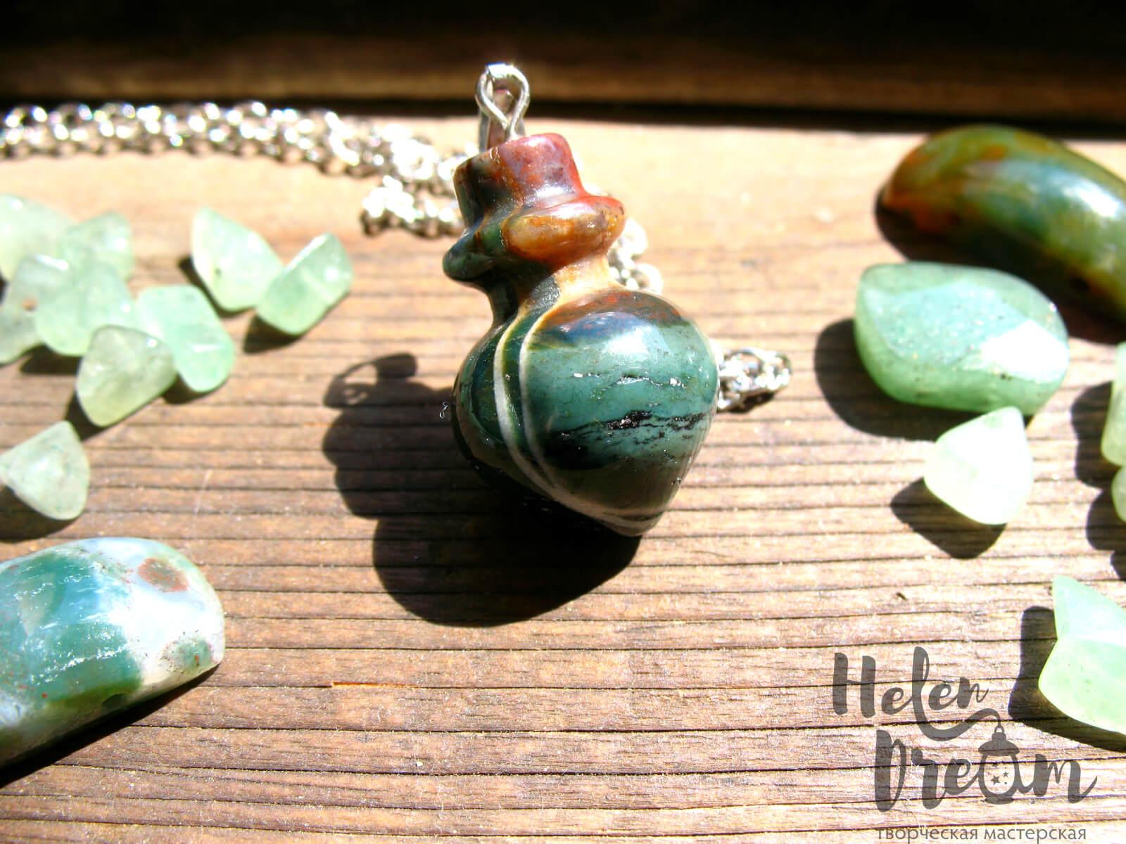 Кулон бутылочка зеленая яшма