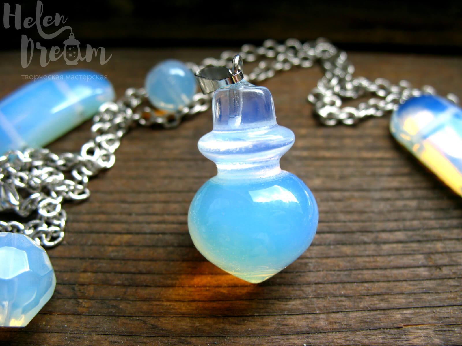 Кулон бутылочка с лунным камнем